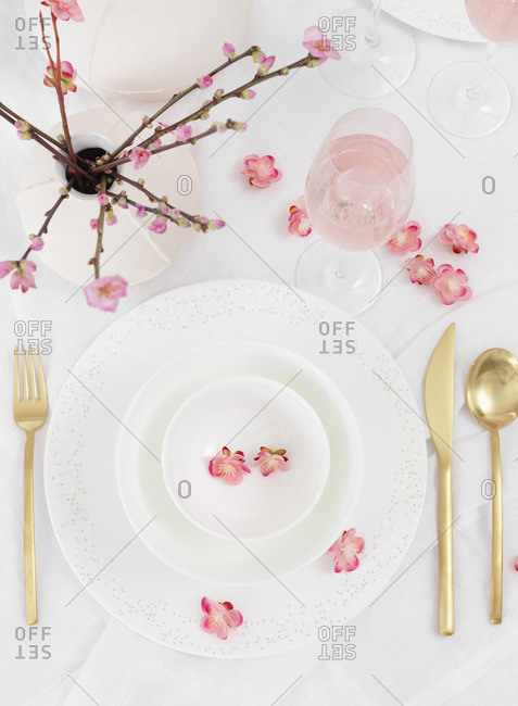 Sweden, Vastergotland, Table decorated in white and pink
