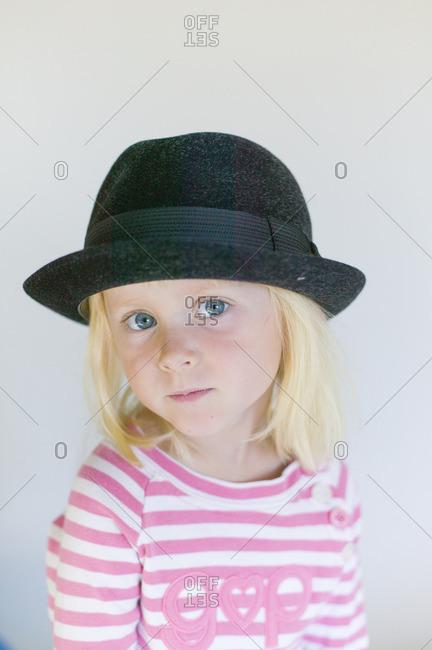 Sweden, Portrait of girl in black hat