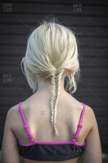 Sweden, Vastergotland, Lerum, Rear view of girl with braided hair