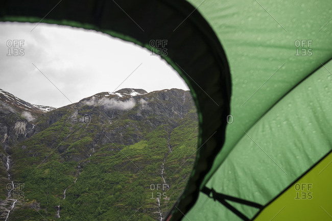 Norway, Sogn og Fjordane, Stryn, Mountain range seeing from tent