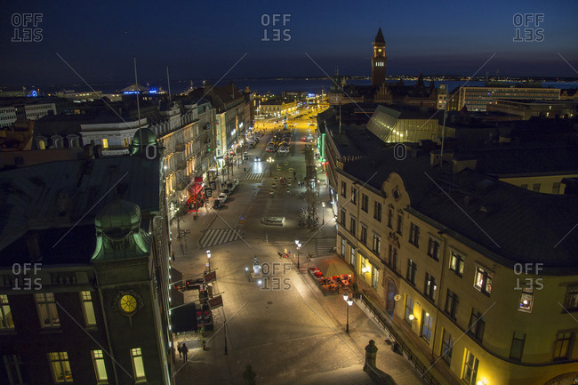 Sweden, Skane, Helsingborg, Stortorget, Elevated view of market square and town hall at night