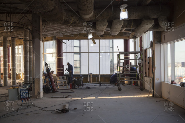 Sweden, Vastergotland, Gothenburg, Gothia Towers, View of building interior in renovation