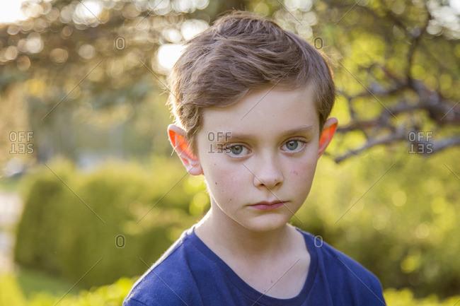 Sweden, Smaland, Anderstorp, Portrait of boy