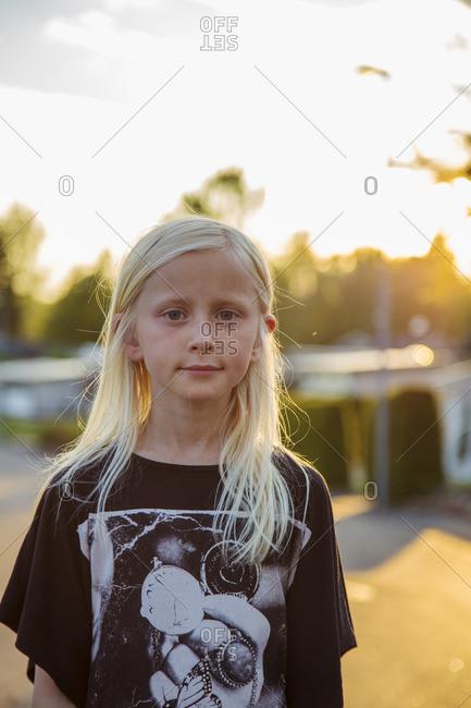 Sweden, Smaland, Anderstorp, Portrait of blond girl