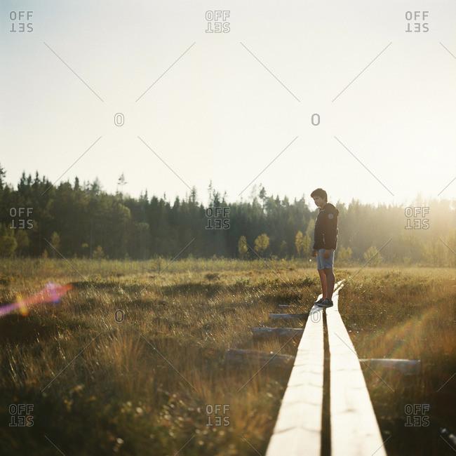 Sweden, Vastmanland, Bergslagen, Hallefors, Silvergruvan, Boy standing on overpass going through meadow towards forest