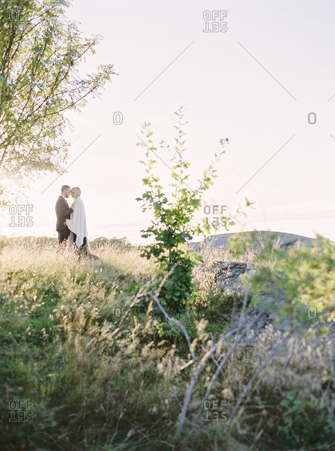 Sweden, Bride and groom standing face to face in grass
