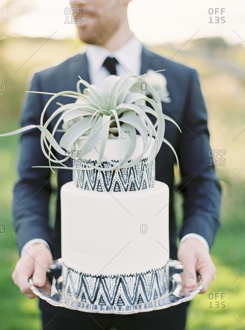 Sweden, Groom holding wedding cake