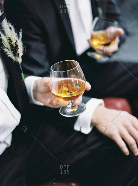 Sweden, Two man holding glasses with brandy