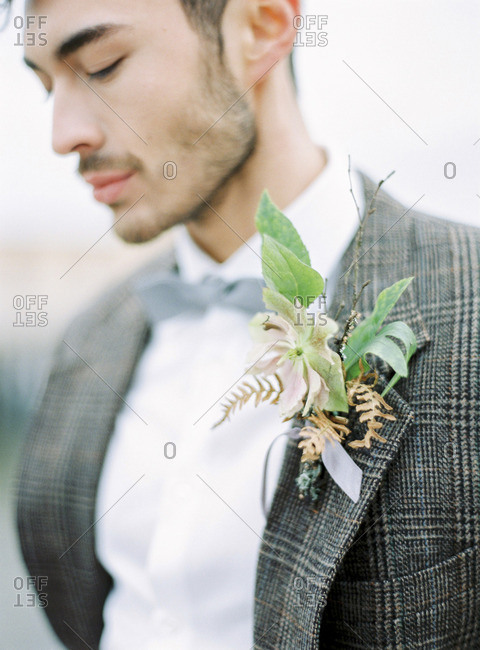Sweden, Holland, Varberg, Portrait of groom wearing tuxedo