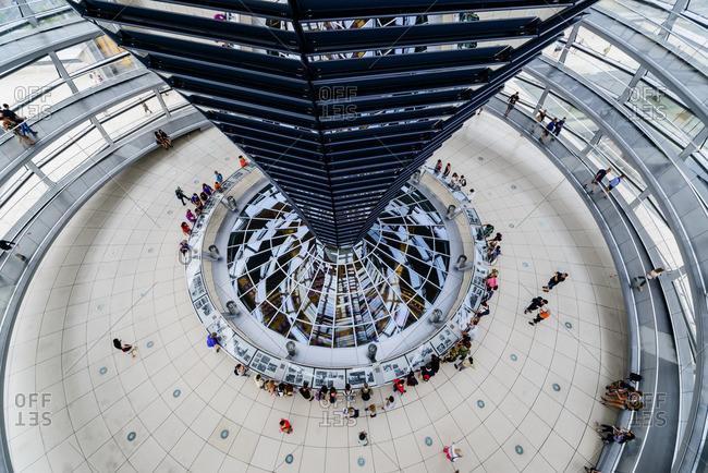 Germany, Berlin, - July 29, 2014: Elevated view of Bundestag atrium