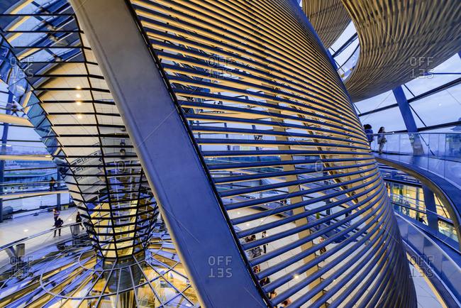 Germany, Berlin, Illuminated interior of Bundestag atrium