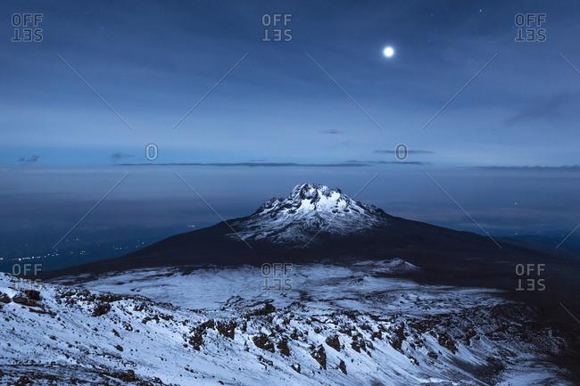 Tanzania, Kilimanjaro, View of Mount Mawenzi in full moon