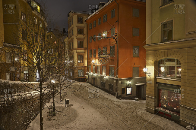 - December 26, 2009: Sweden, Stockholm, Gamla Stan, Osterlanggatan, Illuminated city street in winter