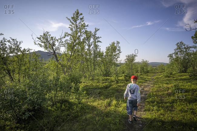 Sweden, Lapland, Kiruna, Rear view of boy hiking