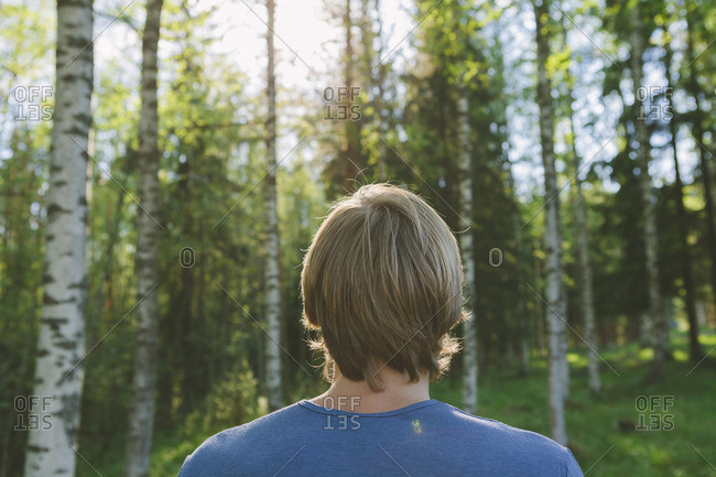Finland, Mellersta Finland, Jyvaskyla, Saakoski, Young man looking at forest