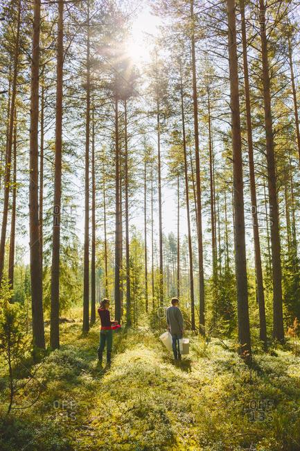 Finland, Etela-Savo, Huttula, Two women picking mushrooms in forest