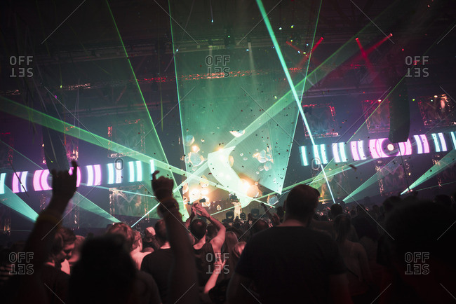 Finland, Uusimaa, Helsinki, Cheering audience at Summer Sound Festival