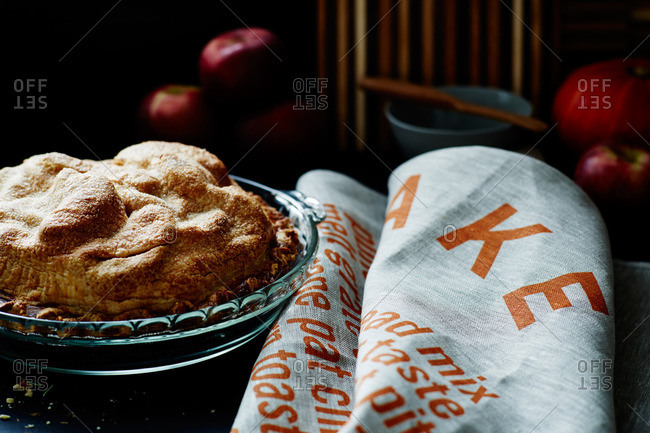 Close-up of an apple pie on a table
