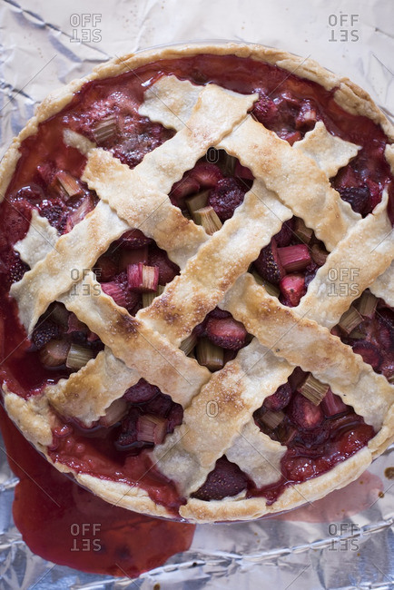 Lattice topped strawberry rhubarb pie