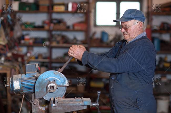 Man using a circular table saw
