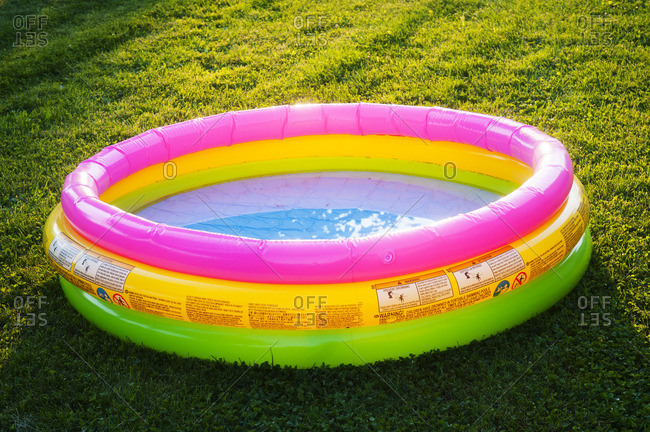 Colorful Child's Pool on Lawn