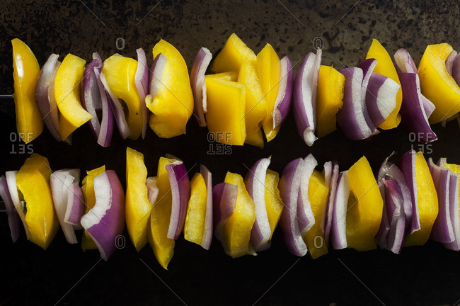 Yellow Peppers and Red Onions on Skewers
