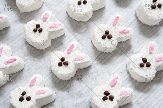 Homemade Easter marshmallows bunnies