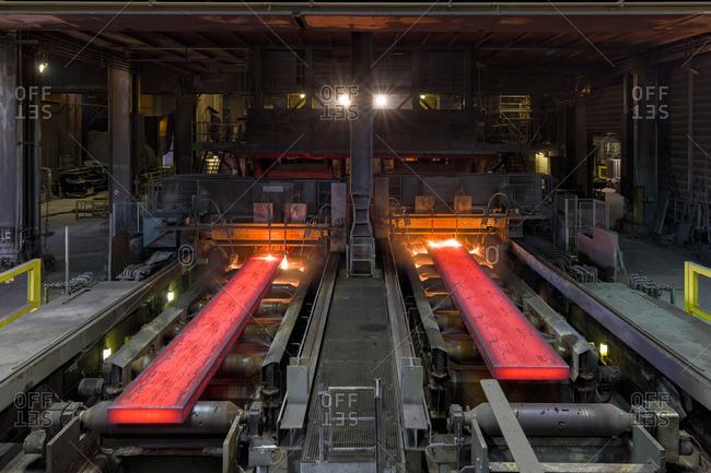 Making steel inside factory