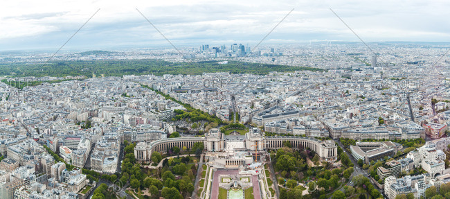 France- Paris- France- Paris- view to the city with Trocadero in the foreground and La Defense in the background