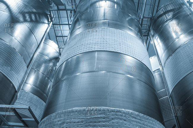 Stainless steel tanks at winery