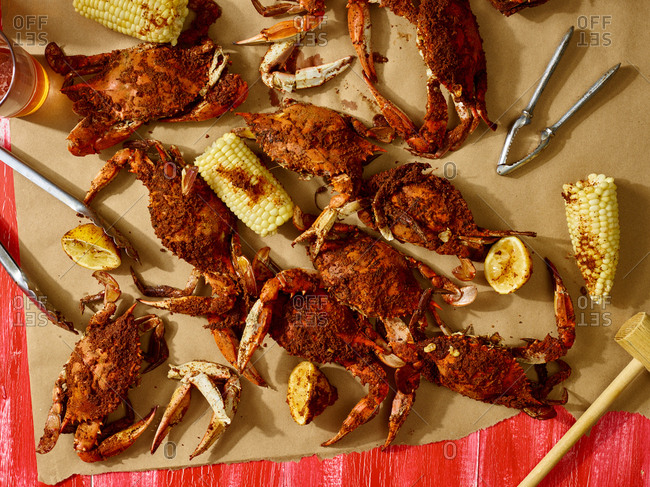 Crabs and corncobs on paper