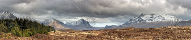 Panoramic view of the Red and Black Cuillin Mountains in the Isle of Skye, Scotland