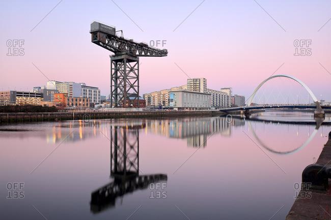 Clyde Arc and Finnieston Crane at sunset, Glasgow, Scotland