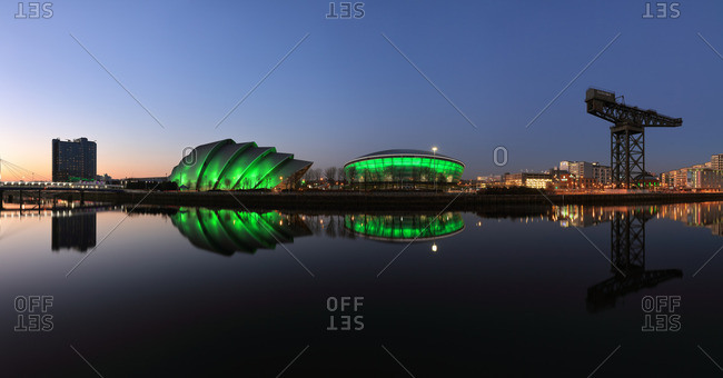 River Clyde waterfront cityscape at dusk