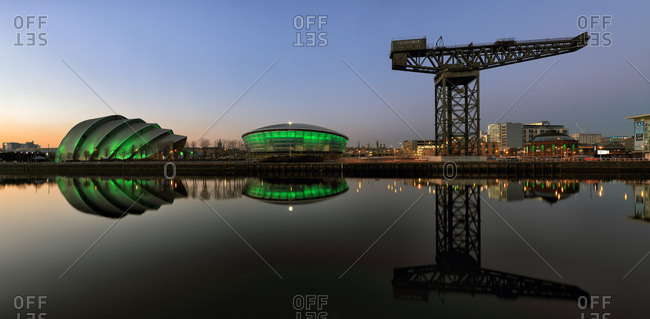 River Clyde waterfront cityscape at twilight
