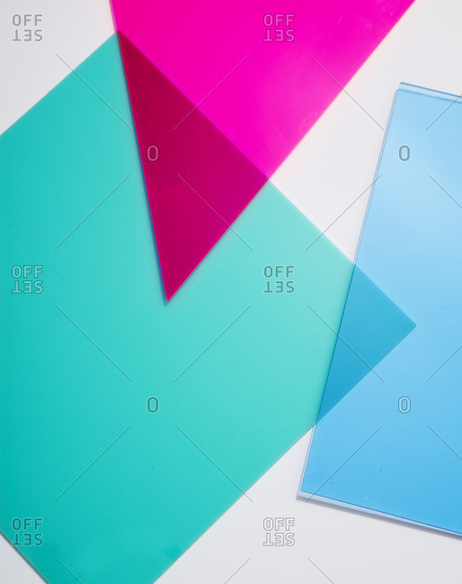 Colored shapes on white background