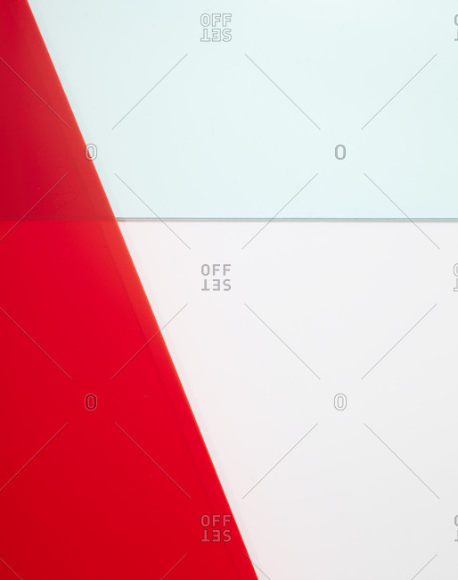 Translucent colored shapes on white background