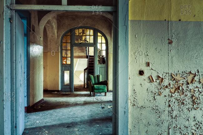 Room inside a decaying sanatorium