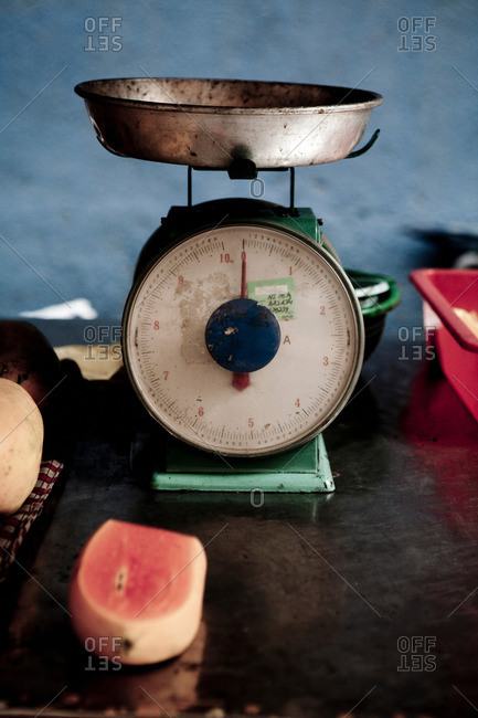 Scales and fruit in Bangkok, Thailand
