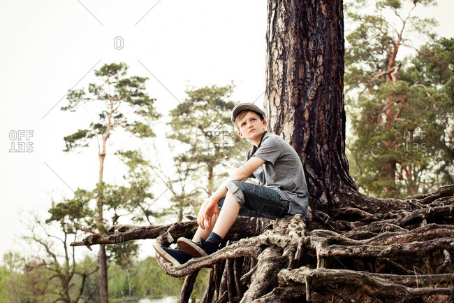 Boy sitting on roots of tree trunk