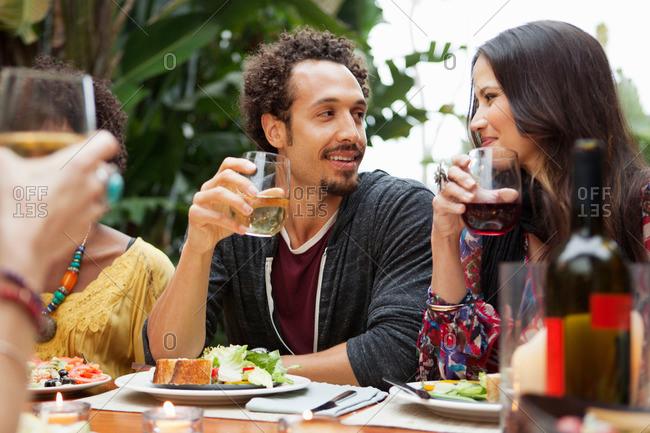 Friends enjoying dinner together