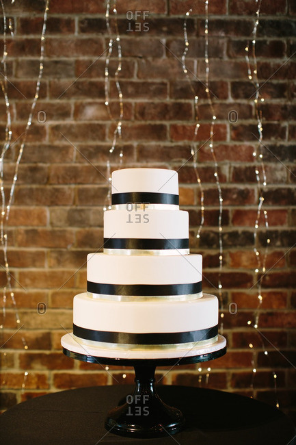 Simple black and white tiered wedding cake