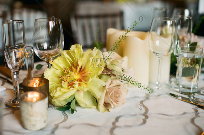 Close-up of elegant flower arrangement on banquet table
