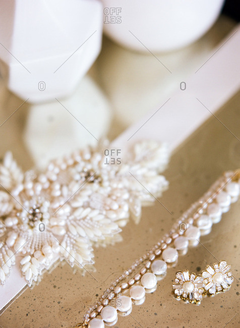 Close-up of pearl bridal jewelry