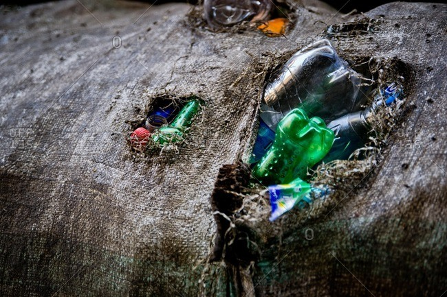 Cairo, Egypt - January 15, 2012: A sack of recycled bottles in the garbage collector district of Manshiyat Nasr in Cairo, Egypt