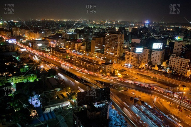 Traffic of downtown Cairo at dusk
