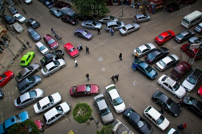 Cairo, Egypt - February 21, 2012: Traffic in downtown Cairo, Egypt
