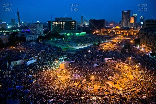 Cairo, Egypt - April 21, 2012: Overlooking a gathering in Tahrir Square at dusk