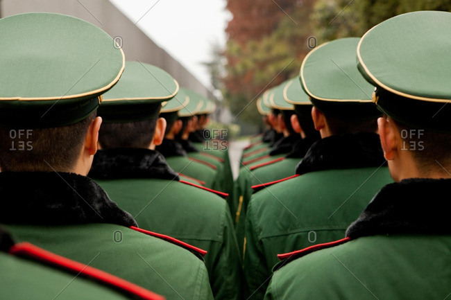 Chinese Imperial Army troops rehearse a ceremonial procession at the Memorial Hall in Nanjing to commemorate the 75th anniversary of the Nanjing Massacre