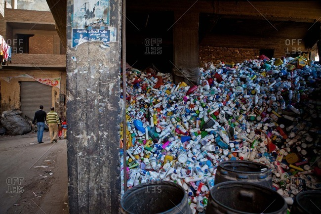 Cairo, Egypt - January 15, 2012: Recycled plastic bottles are separated in the Zabbaleen district of Manshiyat Nasr in Cairo, Egypt